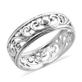 Royal Bali Collection - Sterling Silver Filigree Swirl Vine Band Ring