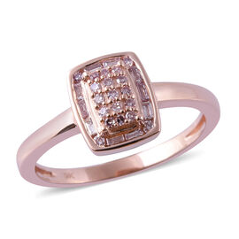9K Rose Gold Natural Pink Diamond (Rnd and Bgt) Ring 0.25 Ct.