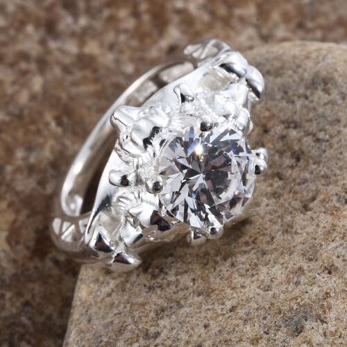 J Francis - Sterling Silver (Rnd) Solitaire Ring Made with SWAROVSKI ZIRCONIA. Silver wt. 5.75 Gms.