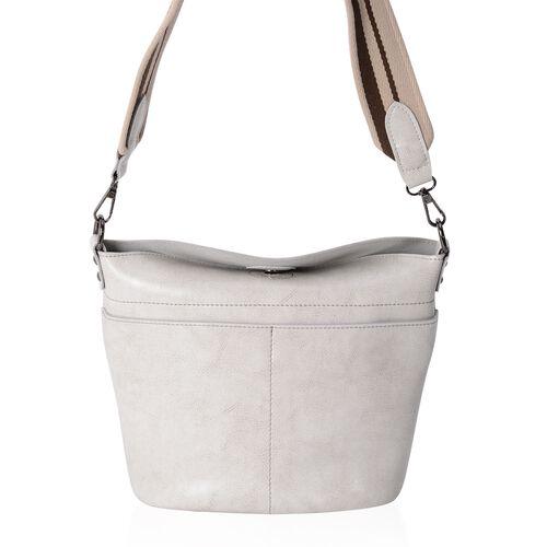 Super Reduction Deal 100% Genuine Leather Off White Colour Shoulder Bag with Removable Shoulder Stra