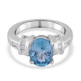 Ratanakiri Blue Zircon and Diamond Ring in Sterling Silver 3.15 Ct.