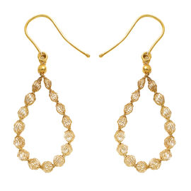 Italian Made 9K Yellow Gold Cubic Zirconia Hook Earrings