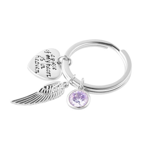 Charms De Memoire Sterling Silver Simulated Purple Sapphire Angel Wing and Heart Charms in Key Chain