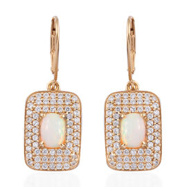 2.75 Ct Ethiopian Opal and Cambodian Zircon Drop Halo Earrings in Gold Plated Sterling Silver