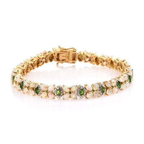 Ethiopian Welo Opal (Ovl), Russian Diopside and Diamond Bracelet (Size 8) in 14K Gold Overlay Sterling Silver 8.250 Ct. Silver wt 24.44 Gms. Number of Gemstone 102