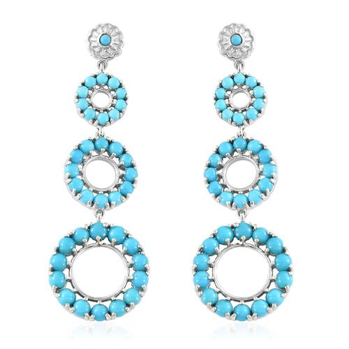 Arizona Sleeping Beauty Turquoise (Rnd) Dangle Earrings (with Push Back) in Platinum Overlay Sterlin