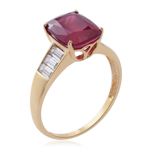 Limited Edition- 9K Yellow Gold AAA African Ruby (Cush 4.00 Ct), Natural White Cambodian Zircon Ring 5.250 Ct.