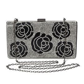 Rose Pattern Crystal Studded Clutch Bag with Detachable Strap and Toggle Clip (Size 21.5x11.5x4.5 Cm