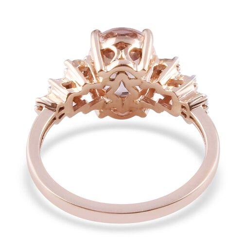 9K Rose Gold Marropino Morganite and Natural Diamond Ring 1.85 Ct.