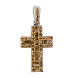 Yellow Diamond (Rnd and Bgt) Cross Pendant in Platinum Overlay Sterling Silver 0.50 Ct.