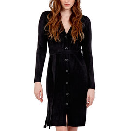 Nova of London Ribbed Long Button Up Cardigan with Tie Wrap in Black