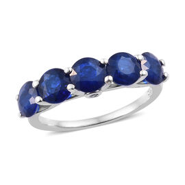 Blue Spinel (Rnd), Diamond Ring (Size O) in Platinum Overlay Sterling Silver 2.750 Ct.