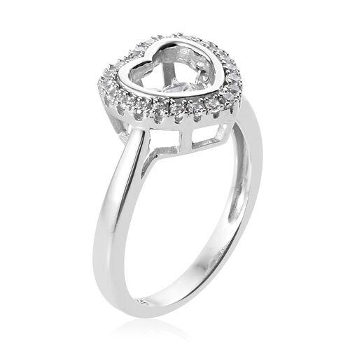 J Francis - Platinum Overlay Sterling Silver (Rnd) Heart Ring Made with SWAROVSKI ZIRCONIA