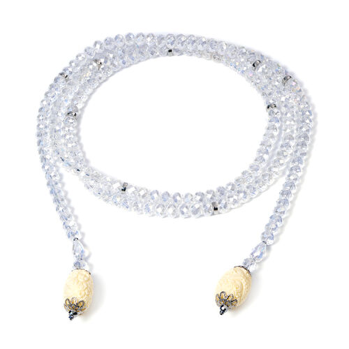White Shell Pearl and Multi Gemstone Necklace (Size 60)