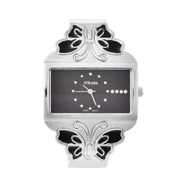 STRADA Japanese Movement White Austrian Crystal Studded Heart Pattern Black Dial Butterfly Theme Ban