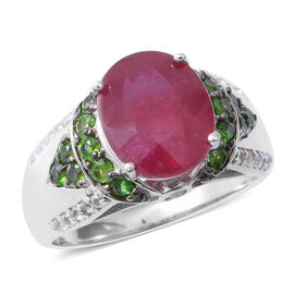 6.27 Ct Very Rare Size African Ruby and Multi Gemstone Ring in Rhodium Plated Silver 5.5 Grams