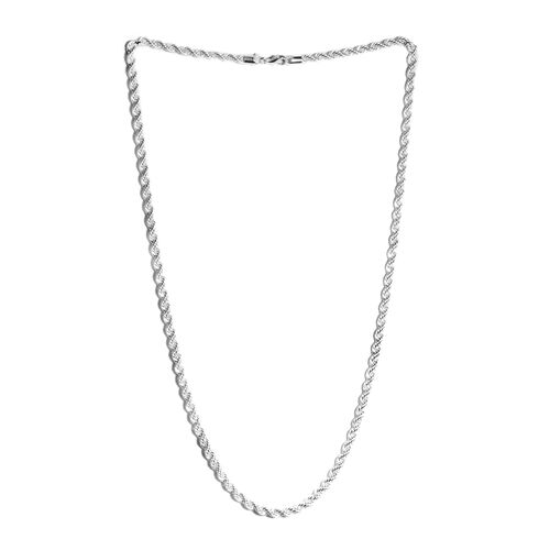 Vicenza Collection-Sterling Silver Rope Necklace (Size 24). Silver wt. 17.00 Gms.