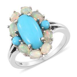Arizona Sleeping Beauty Turquoise (Ovl 2.50 Ct), Ethiopian Welo Opal Ring in Platinum Overlay Sterli