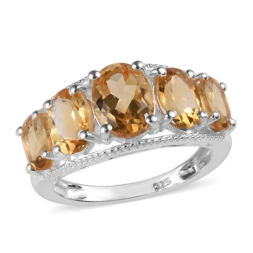 3.50 Ct Citrine 5 Stone Ring in Sterling Silver