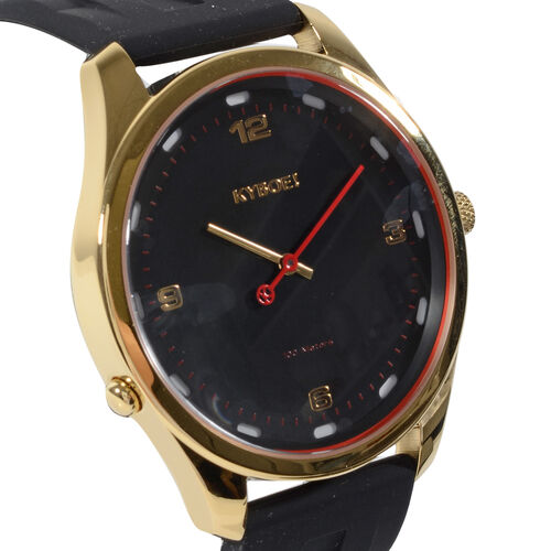 KYBOE Evolve Collection - Black Gold Slimline 45MM LED Watch- 100M Water Resistance (With Extra Strap)