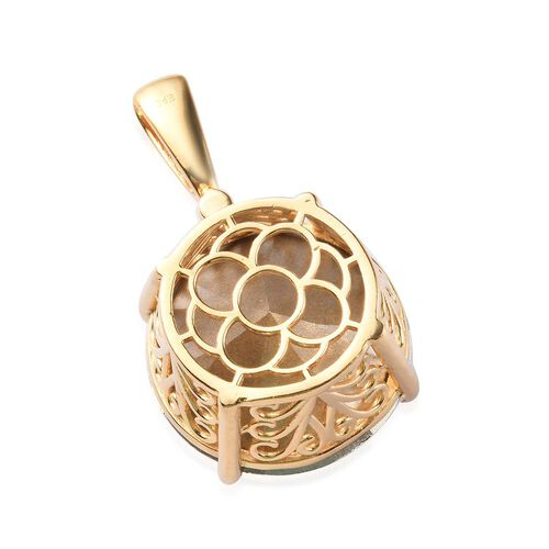 J Francis - Crystal from Swarovski White Crystal (Rnd 25mm) Solitaire Pendant in 18K Yellow Gold Plated