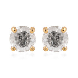 0.25 Ct Diamond Solitaire Stud Earrings with Push Back in 9K Gold I3 H