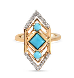 Arizona Sleeping Beauty Turquoise and Natural Cambodian Zircon Ring in Yellow Gold Overlay Sterling
