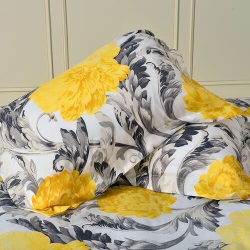 Set of 4 - Double Size Printed Duvet Cover (200x200 cm) with Yellow and Grey Floral Design with King Size Fitted Sheet (150x200 cm) and Two Pillow Shams (50x75 cm)