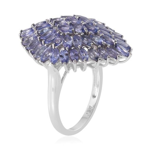 9K White Gold 4 Carat AA Tanzanite Cluster Ring