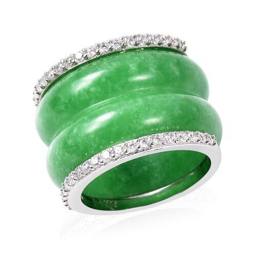 53.50 Ct Green Jade and Zircon Band Ring in Rhodium Plated Sterling Silver
