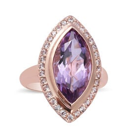 Rose De France Amethyst and Natural Cambodian Zircon Ring in Rose Gold Overlay Sterling Silver 5.64