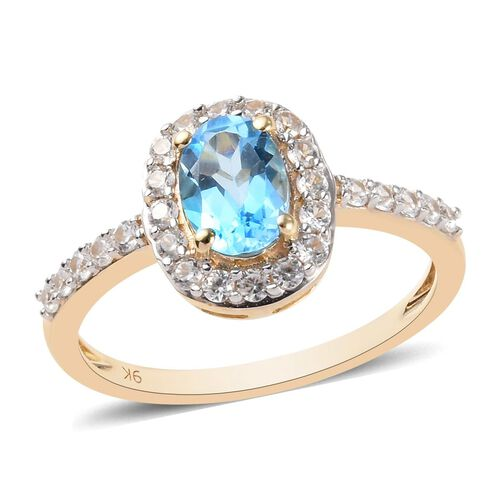 9K Yellow Gold AA Swiss Blue Topaz (Ovl 7x5mm), Natural Cambodian Zircon Ring 1.34 Ct.