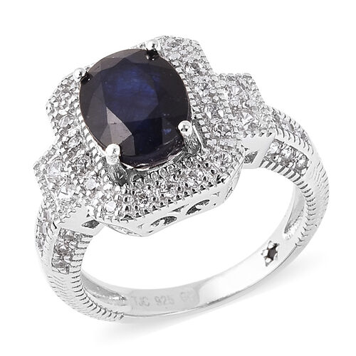 GP 3.37 Ct Masoala Sapphire and Zircon Halo Ring in Rhodium Plated Sterling Silver