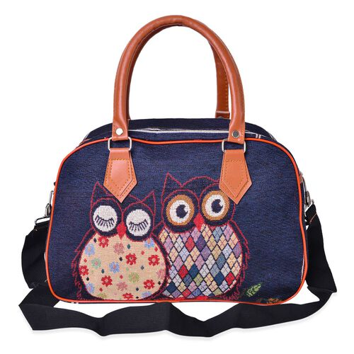 Navy, Brown and Multi Colour Owl Pattern Jacquard Tote Bag with Adjustable Shoulder Strap (Size 35X24X14 Cm)