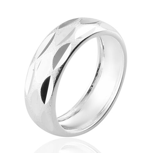 Sterling Silver Diamond Cut Band Ring