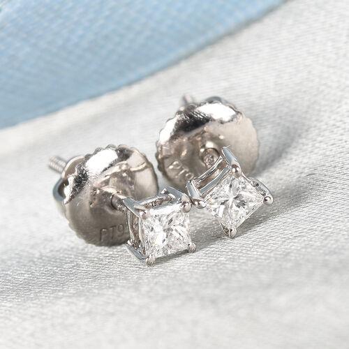 RHAPSODY 950 Platinum IGI Certified Diamond (Princess Cut) (VS/E-F) Solitaire Stud Earrings (with Screw Back) 0.20 Ct