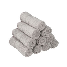 Set of 10 - 100%Egyptian Cotton Face Towel (Size:30x30Cm) - Silver Grey
