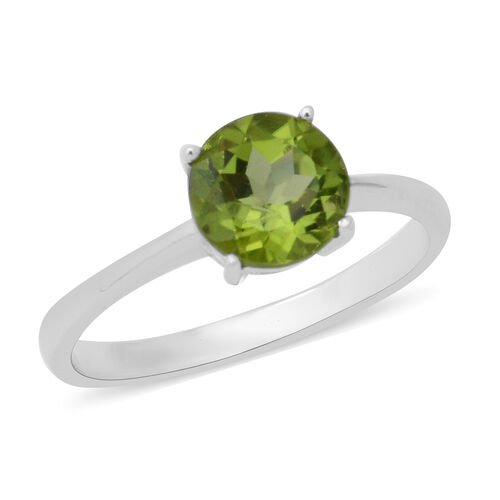 3 Piece Set - Hebei Peridot (Rnd) Solitaire Pendant with Chain, Ring and Stud Earrings (with Push Post) in Rhodium Overlay Sterling Silver 5.96 Ct.
