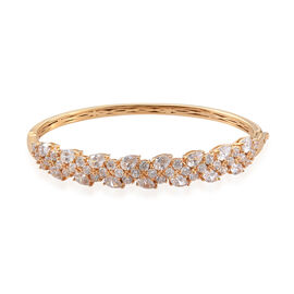 J Francis - 14K Gold Overlay Sterling Silver (Pear and Rnd) Bangle (Size 7.5) Made With SWAROVSKI ZI