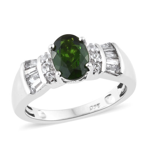 Designer Inspired - Rare Size Russian Diopside (Ovl 8x6 mm), White Topaz Ring in Platinum Overlay Sterling Silver 1.750 Ct