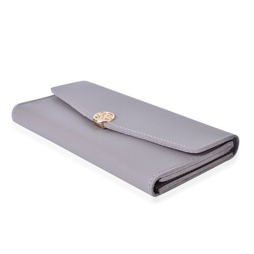 Grey Colour Ladies Wallet with Multiple Card Slots (Size 19X10X1 Cm)