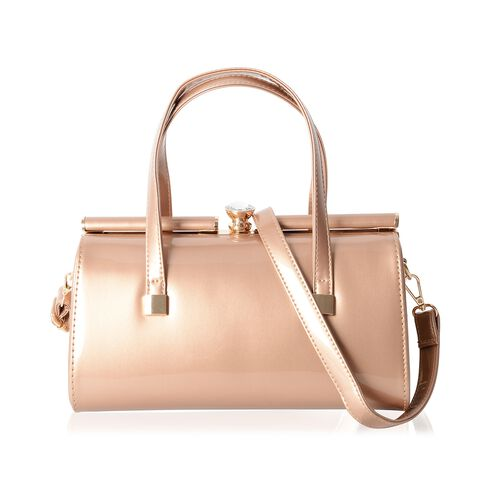 Boutique Collection High Glossed Vintage Style Gold Tote Bag with Removable Shoulder Strap (Size 28x15x14 Cm)