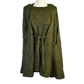 Aran 100% New Woollen Mills Irish Poncho in Moss Colour - One Size (8-18)