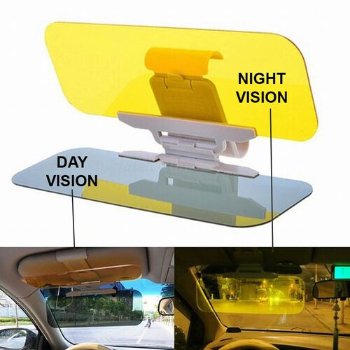 Set of 2 : 2-in-1 HD Visor Day and Night-Vision Glasses - Grey, Yellow and Black