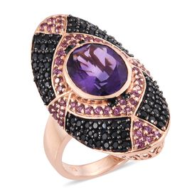 Lusaka Amethyst and Multi Gemstone Cluster Ring in Black Rhodium and Rose Gold Plated Silver