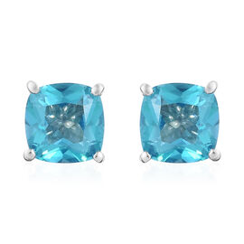 Paraiba Topaz (Cush) Stud Earrings (with Push Back) in Platinum Overlay Sterling Silver 2.500 Ct.