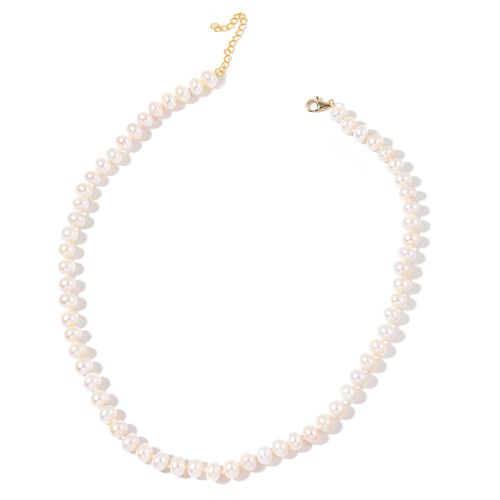 9K Y Gold Fresh Water White Pearl (8-9 mm) Necklace (Size 18 with 2 inch Extender)