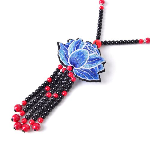 Shanghai Collection-Hand Crafted Blue Colour Lotus Flower Emboidered Necklace (Size 28) with Red and Black Colour Beads