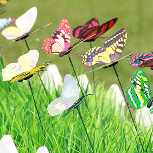 12 Pcs Set- Decorative Butterfly Stakes (Height 32cm) - Purple, Red and Multi Colour