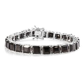 16 Ct Elite Shungite Tennis Bracelet in Platinum Plated Sterling Silver 13.50 Grams 7 Inch